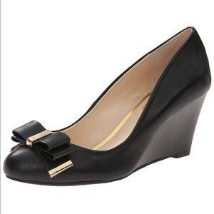 Jessica Simpson Slane Wedges 7 Bow Leather Heels